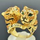 H-Quality Animal Brother 2 Tiger Ring Size 7# W Topaz Swarovski Crystal SR2018