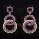 Stylish Dangle Pierced Circle Earring W/ Purple Rhinestone Crystals 203348