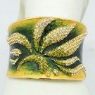 H-Quality Green Swarovski Crystals Enamel Leaf Flower Bracelet Bangle SKA1961M-3