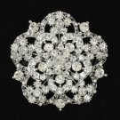 "Rhinestone Crystals Clear Round Flower Brooch Pin 2.4"" For Wedding 3809"