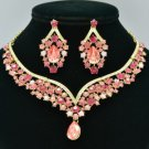 Rhinestone Crystals Pink Flower Necklace Earring Set W/ Gold Tone 5535