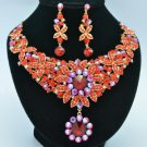 Big Floral Flower Necklace Earring Sets w/ Ligh Siam Rhinestone Crystals 02555