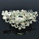 Clear Rhinestone Crystals Bride Floral Flower Hair Comb For Wedding 4907
