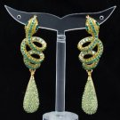 Hi-Quality Green Pierced Serpent Snake Earring W/ Swarovski Crystals SEA0865-3