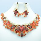 Stylish Red Rhinestone Crystals Flower Heart Necklace Earring Jewelry Set 04526