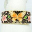 Enamel Flower Yellow Butterfly Bracelet Bangle Cuff Swarovski Crystal SKA2054M-1