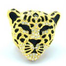 Rhinestone Crystals Gold Tone Clear Panther Leopard Cocktail Ring Size 7# 07687