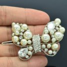 Wedding Faux Pearl Butterfly Barrett Hair Clip W/ Clear Swarovski Crystal 285103
