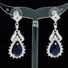 Dangle Blue Zircon Flower Pierced Earring W/ Clear Rhinestone Crystals 21510