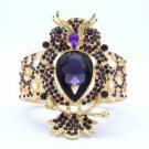 Chic Vogue Drop Animal Elastic Purple Owl Bracelet Bangle Rhinestone Crystals