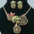 Gorgeous Lotus Flower Green Frog Necklace Earring Sets Swarovski Crystals 641901