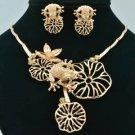 Vogue Rose Gold Lotus Flower Frog Necklace Earring Sets Swarovski Crystal 641201