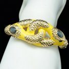 Gold Tone Animal Yellow Enamel 2 Boa Snake Bracelet Bangle Cuff 01031