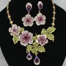 Swarovski Crystals Hot Purple Rose Flower Necklace Earring Set