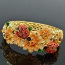 Swarovski Crystal High Quality Flower Bracelet Bangle W/ Red Ladybug SKCA1777M-2