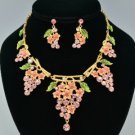 High Quality Pink Swarovski Crystals Leaf Grape Necklace Earring Set SNA3177-1