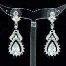 Rhinestone Crystals Dangle Clear Flower Pierced Earring W/ Zircon 21510