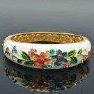 White Enamel Flower Bracelet Bangle W/ Mix Swarovski Crystals SKCA2086L-3