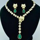 Teardrop Swarovski Crystals Panther Leopard Necklace Earring Set W/ Gold Tone