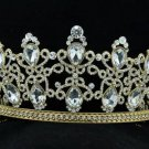 Gold Tone Wedding Drop Flower Tiara Crown Headbands Rhinestone Crystals 19332G
