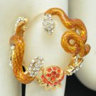 High Quality Animal Clear Swarovski Crystals Opal Brown Snake Cocktail Ring