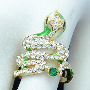 Gold Tone Cute Animal Green Enamel Cobra Snake Cocktail Ring Swarovski Crystals