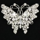 Silver Tone Clear Butterfly Brooch Broach Pin W/ Rhinestone Crystals 4895