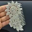 Wedding Silver Tone Flower Hair Comb w/ Clear Rhinestone Crystals 5567