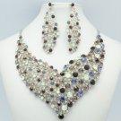 Vogue Flower Necklace Earring Set W/ Purple Rhinestone Crystals 5540