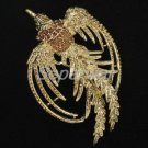 Vintage Style Rhinestone Crystals Bird Brown Peacock Brooch Broach Pin 3.4""