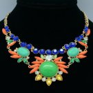 Gorgeous Flower Necklace Pendant w/ Multicolor Rhinestone Crystals Acrylic Resin