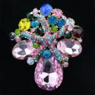 "Starfish Flower Pendant Brooch Pin 2.2"" Multi Color Rhinestone Crystals 4995"