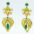 H-Quality Swarovski Crystal Green Wings Skeleton Skull Pierced Earring SEA0860-3