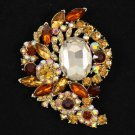 "Vintage Style Flower Pendant Brooch Broach Pin 3.1"" W/ Rhinestone Crystals 4883"