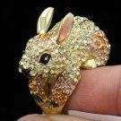 Yellow Swarovski Crystals Bunny Rabbit Cocktail Ring Size 8#