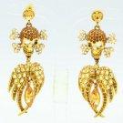 H-Quality Swarovski Crystal Brown Wings Skeleton Skull Pierced Earring SEA0860-1