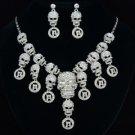 Goth Style Multi Skeleton Skull Necklace Earring Set W/ Clear Rhinestone Crystal