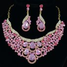 Drop Floral Flower Necklace Earring Set W/ Pink Rhinestone Crystals 02373