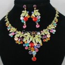 High Quality Leaf Grape Necklace Earring Set W/ Mix Swarovski Crystals SN2908-4