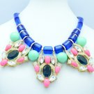 Multicolor Acrylic Drop Ball Circle Oval Flower Necklace Pendant w/ Crystals