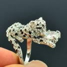 Leopard Ring Cocktail  w/ Clear Swarovski Crystals Clear Zircon Size 8#