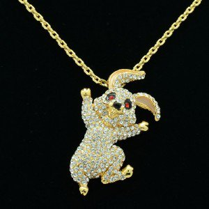 4 Color High Quality Animal Rabbit Necklace Pendant W/ Swarovski Crystals SN2962