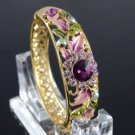 H-Quality Exquisite Purple Flower Bracelet Bangle Cuff W/ Swarovski Crystals