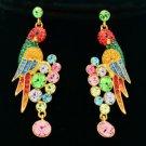 High Quality Animal Pierced Bird Parrot Earring W/ Swarovski Crystals SEA0887