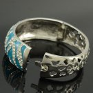 H-Quality Clear Swarovski Crystals Tiger  Bracelet Bangle Cuff  W/ Blue Enamel
