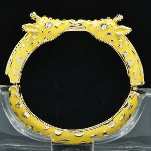 Enamel Yellow 2 Giraffe Bracelet Bangle Cuff W/ Clear Rhinestone Crystals L1104