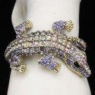 Terrible Animal Crocodile Bracelet Bangle Cuff W/ Purple Swarovski Crystals