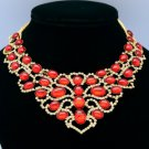 Popular Oval Red Acrylic Flower Necklace Pendant W/ Rhinestone Crystals D2868