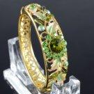 Exquisite Green Flower Bracelet Bangle Cuff Swarovski Crystals High Quality