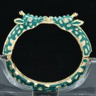Enamel Green 2 Giraffe Bracelet Bangle Cuff W/ Clear Rhinestone Crystals L1104